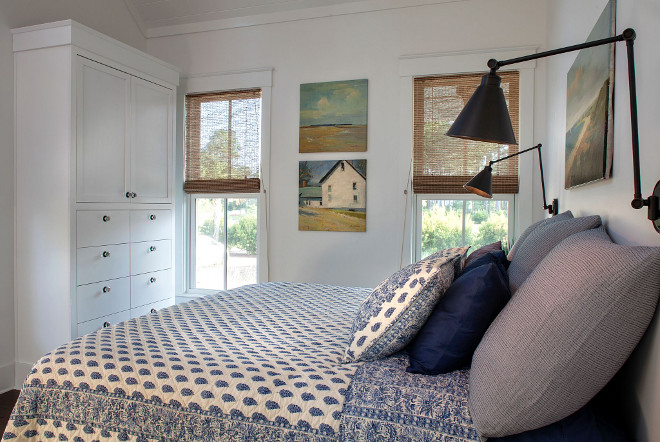 Blue and white quilt. Modern farmhouse bedroom with blue and white quilt Pine Cone Hill Annette Blue Quilt #blueandwhitequilt Barefoot Interiors Lisa Furey
