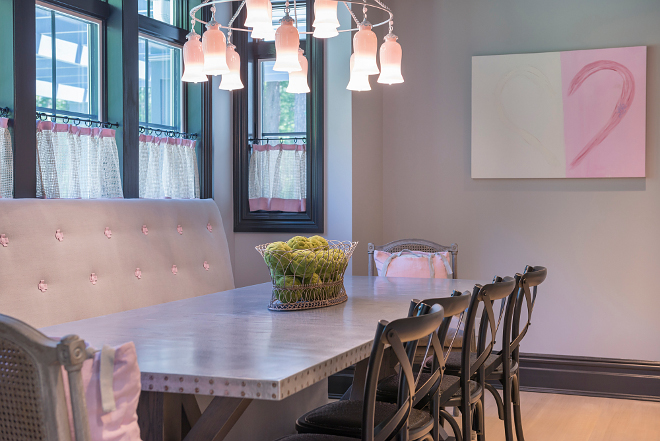 Breakfast Room with custom banquette Breakfast Room with custom banquette Grey and pink Breakfast Room with custom banquette #BreakfastRoom #custombanquette #grey #blush #pink
