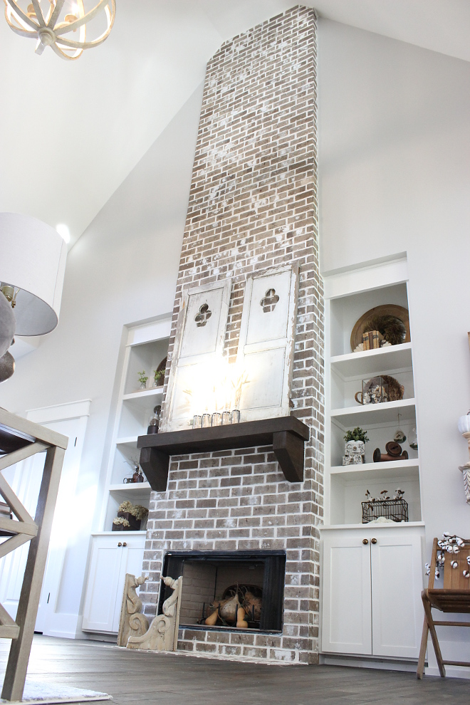 Brick Fireplace Farmhouse Brick Fireplace Our brick fireplace, which matches the brick out front goes from floor to ceiling #brickfireplace #farmhousebrickfireplace Beautiful Homes of Instagram Home Bunch