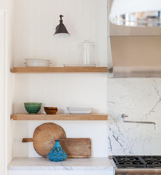 Chunky Floating Shelves Kitchen With White Oak