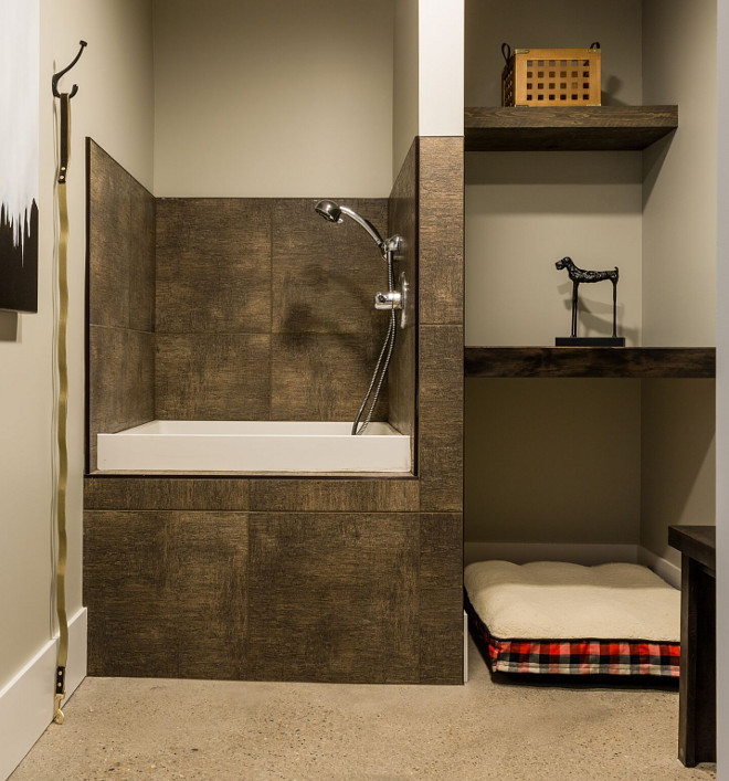 Dog Wash Mudroom with Dog Wash Dog Wash Tub Dog Wash Mudroom/Dog Wash with custom cabinetry and dog shower. #DogWash #mudroom