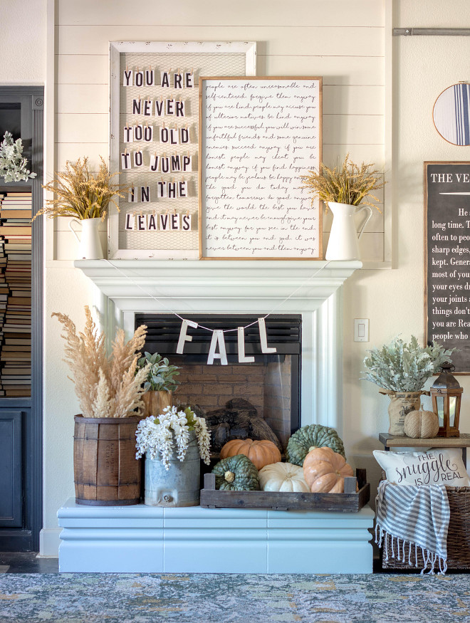Farmhouse Fireplace Mantel Fall Decorating Ideas. Farmhouse Fireplace Mantel Fall Decor. Farmhouse Fireplace Mantel Fall Decor with pumpkins, art, vases, farmhouse sign art, shiplap and reclaimed wood. Farmhouse Fireplace Mantel Fall Decor Ideas. Farmhouse Fireplace Mantel Fall Decor @idreamofhomemaking
