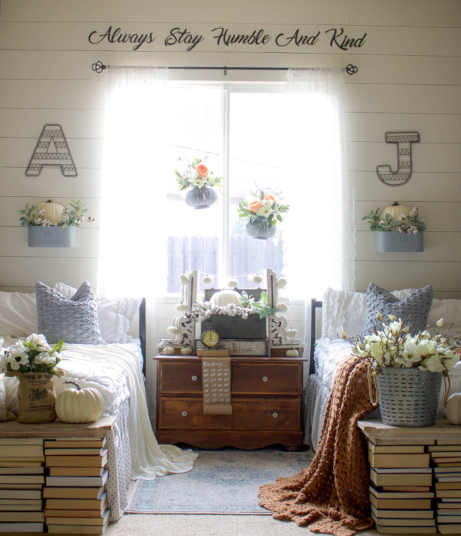 Farmhouse Kids Bedroom with Shiplap. Farmhouse Kids Bedroom with Shiplap, vintage furniture, antique books and wall decal @idreamofhomemaking