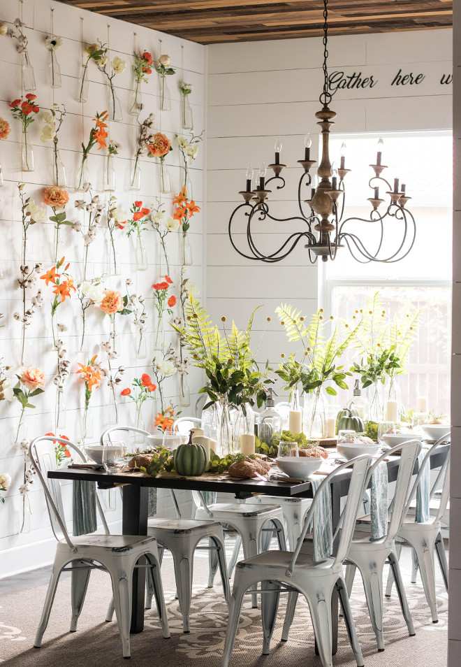 Farmhouse dining room. Farmhouse dining room with DIY Bottle Wall Vase. Farmhouse dining room with shiplap and DIY Bottle Wall Vase. Farmhouse dining room with DIY Bottle Wall Vases @idreamofhomemaking