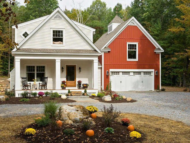 Farmhouse exterior with attached barn art studio Witt Construction