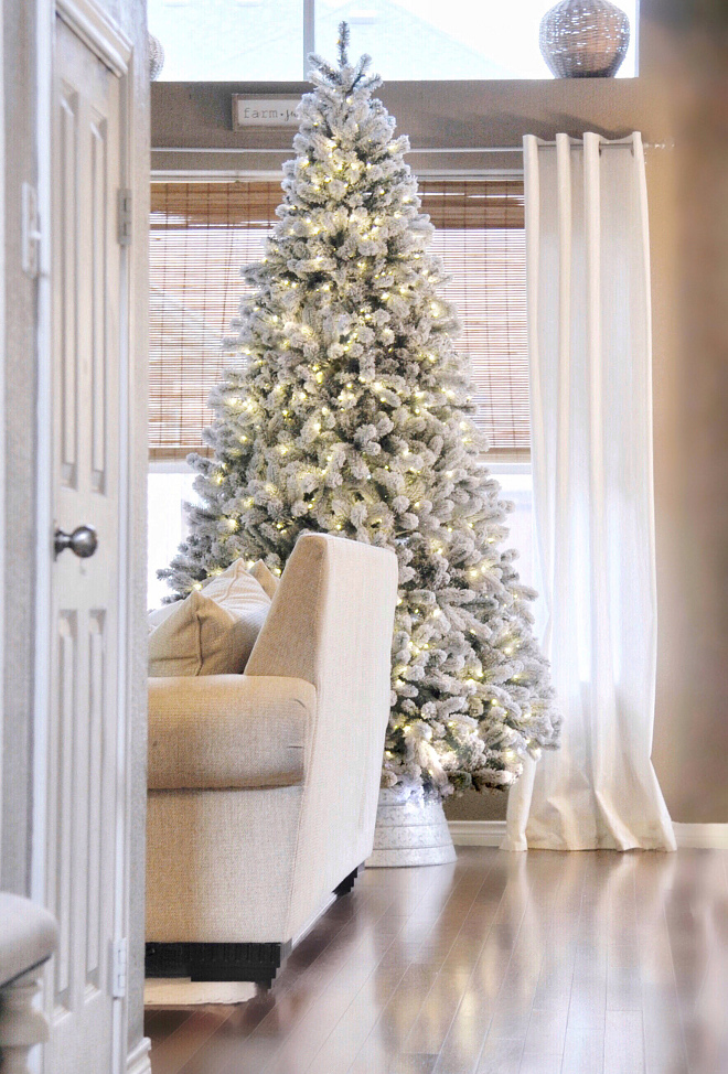 Flocked Christmas Tree Flocked Christmas Tree Ideas Neutral Flocked Christmas Tree