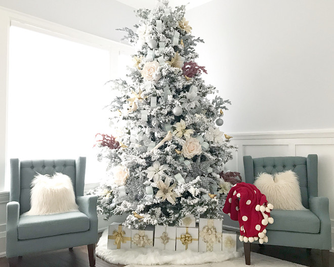 Flocked White Artificial Christmas Tree Flocked White Artificial Christmas Tree with 600 Clear Lights with Stand #FlockedWhite #ArtificialChristmasTree #ChristmasTree #FlockedChristmasTree