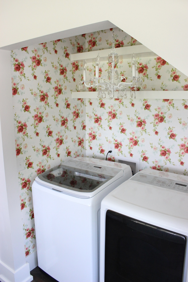 Floral Wallpaper Laundry room with floral wallpaper from Magnolia Magnolia Homes Heirloom Rose Heirloom Rose Wallpaper in Red and White from the Magnolia Home Collection by Joanna Gaines Beautiful Homes of Instagram Home Bunch @crateandcottage