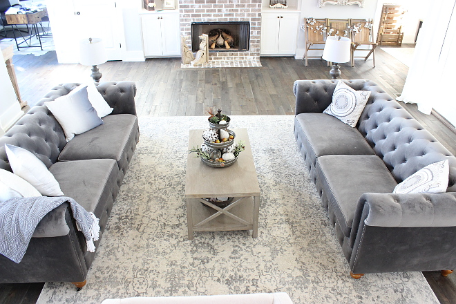 Grey Tufted Sofas with grey rug Grey Tufted Sofas with grey rug Grey Tufted Sofas with grey rug grey tufted velvet sofas #GreyTuftedSofas #greyrug Beautiful Homes of Instagram Home Bunch