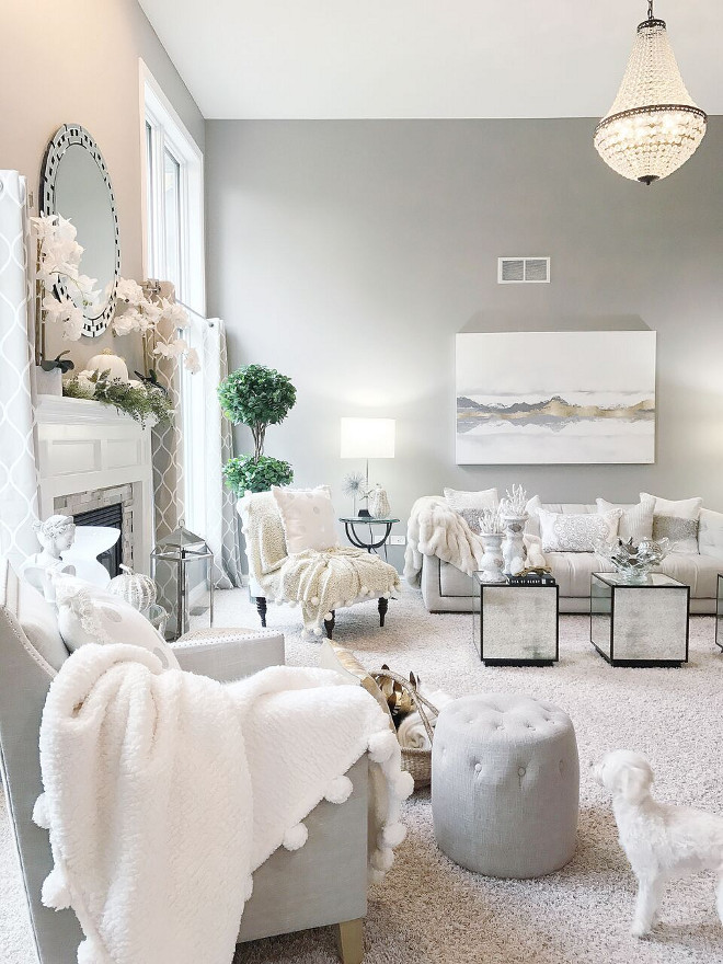 Grey living room, Grey living room with white decor, Grey living room, Grey living room #Greylivingroom Beautiful Homes of Instagram Home Bunch