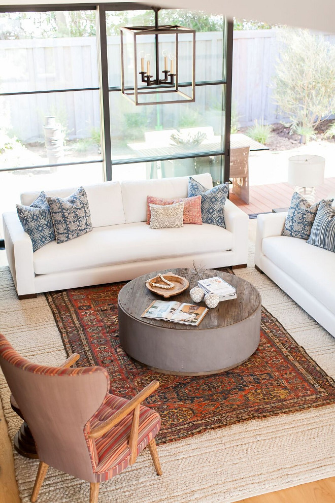 Hand-Woven Natural Area Rug and Vintage Rug How to layer rugs Rug layers Two rugs