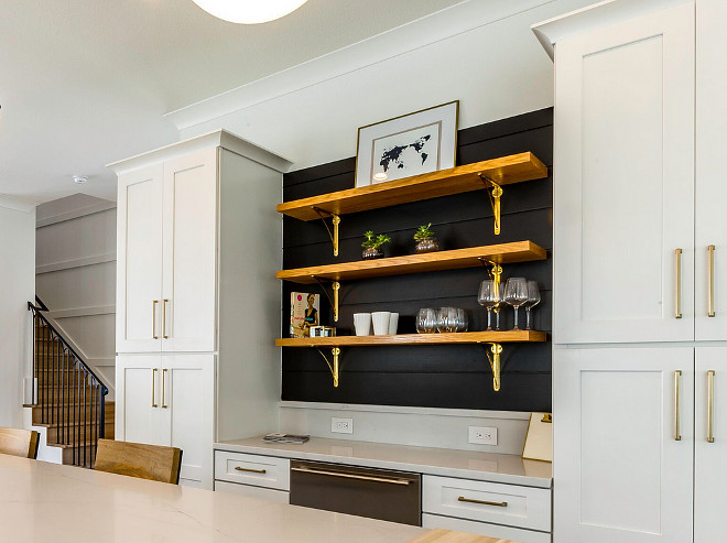 Kitchen bar cabinet with black shiplap wall and Rustic Wood Shelves and Brass Brackets from Rejuvenation #Kitchen #bar #cabinet #blackshiplap #RusticWoodShelves #BrassBrackets #Rejuvenation