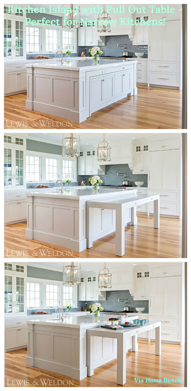Kitchen island with Pull Out Table - Perfect for narrow kitchens #kitchenisland