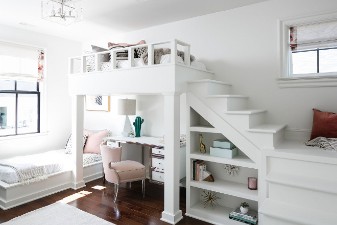 Loft Bunk Room. Loft bunk bed with desk area. This shared bedroom features a built-in bed and a loft bunk bed with plenty of built-ins! Loft Bunk Room. Loft bunk bed with desk area. Loft Bunk Room. Loft bunk bed with desk area #LoftBunkRoom #Loftbunkbed #deskarea Ramage Company