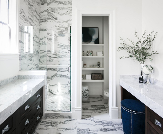 Master Bathroom floor and shower marble tile with separate water closet. Tile is Allora Polished Porcelain Field Tile from Artistic Tile Ramage Company