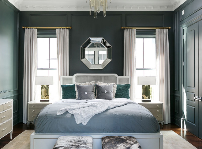 Master Bedroom Wall Paneling. Master Bedroom Wall Paneling Ideas. Master Bedroom Wall Paneling Paint Color. The master bedroom is so beautiful that it would be hard to leave it every morning. I am loving the hues and the paneled walls. Master Bedroom Wall Paneling #MasterBedroom #WallPaneling Ramage Company