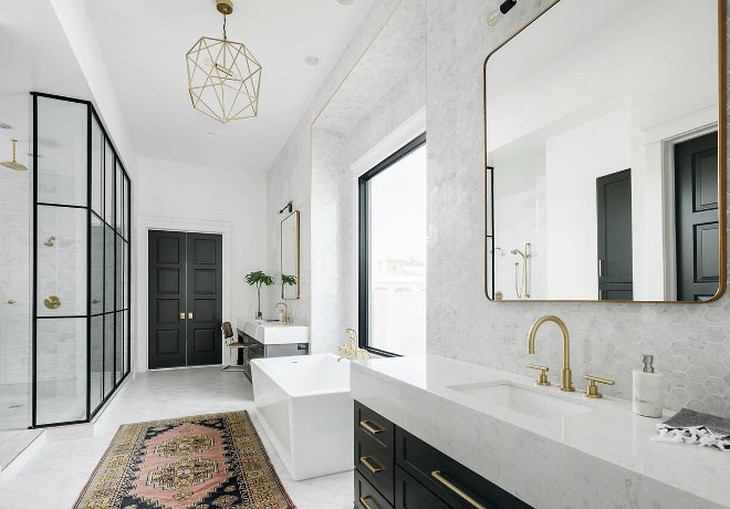 Modern Farmhouse Bathroom with steel framed shower. Modern Farmhouse Bathroom with steel framed shower. Modern Farmhouse Bathroom with steel framed shower. Modern Farmhouse Bathroom with steel framed shower #ModernFarmhouseBathroom #steelframedshower A Finer Touch Construction