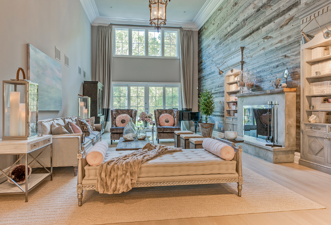 Modern Farmhouse East Hampton Modern Farmhouse Living room with reclaimed shiplap, I used reclaimed barn wood on the living room feature wall and beautiful wide plank oak floors throughout