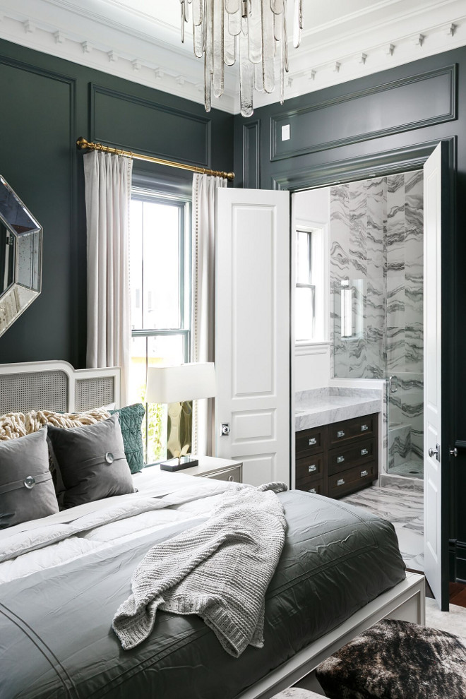 Mostly Metal by PPG. Chic bedroom painted in Mostly Metal by PPG #MostlyMetalbyPPG Ramage Company