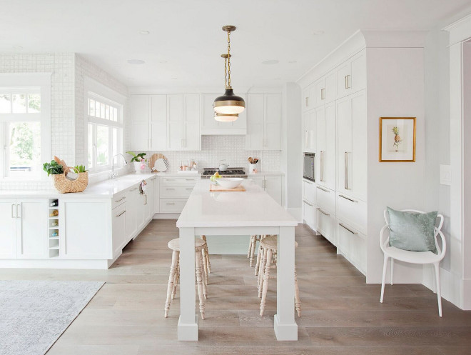 Narrow kitchen island. White Kitchen with narrow and long kitchen island with square legs. Narrow kitchen island Jeffrey Court Inc
