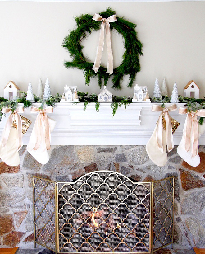 Natural Wreath and Garland Mantel Ideas Christmas Natural Wreath and Garland Mantel Ideas