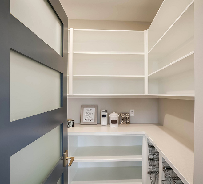 Pantry door painted in Benjamin Moore 1630 Ocean Floor