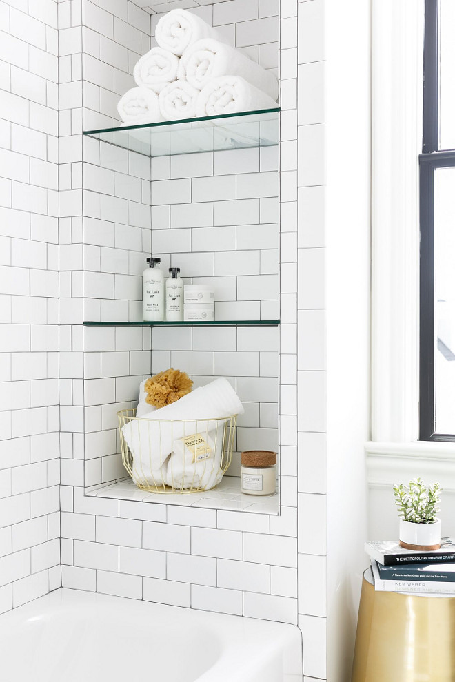 Shower Bath Niche with subway tile and glass shelves. Shower bath feature a niche with subway tile and glass shelves. Ramage Company