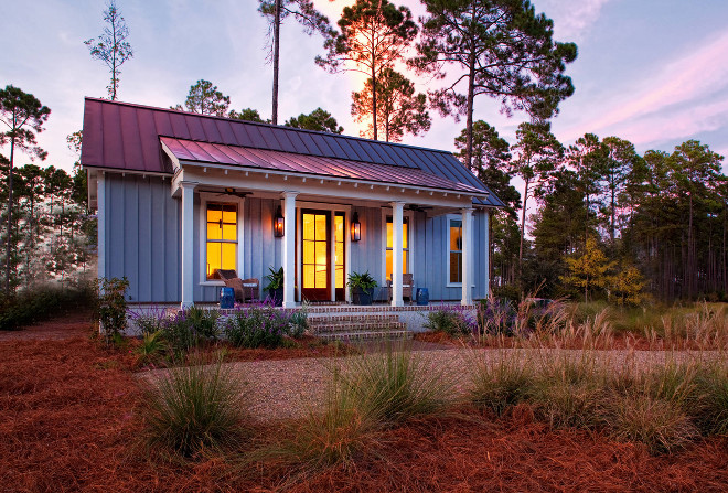 Small cottage with front porch. This small cottage is about 690 sq feet. #smallcottage Barefoot Interiors Lisa Furey