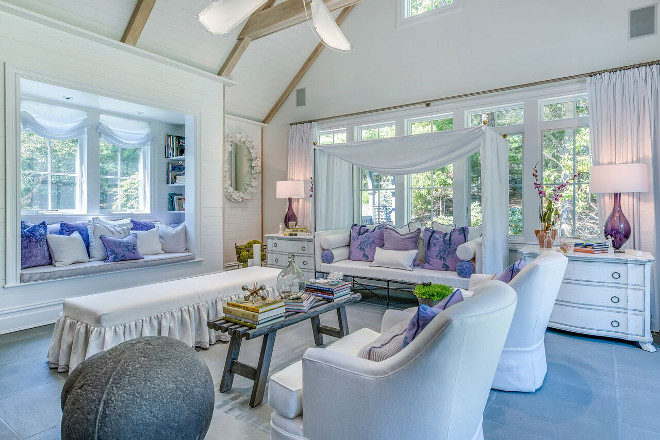 Sunroom, White sunroom with lavender decor