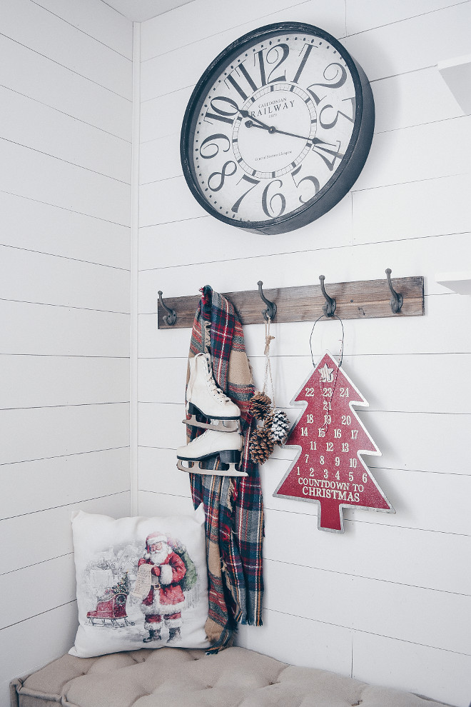 The white shiplap walls are painted in Snowbound by Sherwin Williams