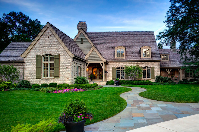 Traditional home exterior with brick. Hursthouse Landscape Architects and Contractors