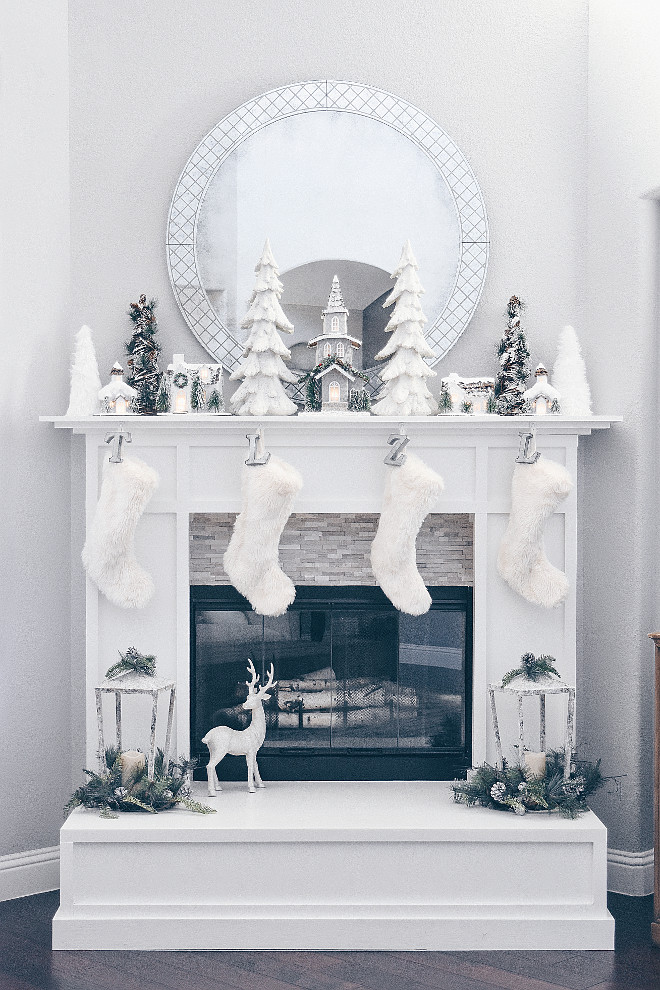 White Christmas Fireplace Decor White Christmas Fireplace Decor White Christmas Fireplace Decor