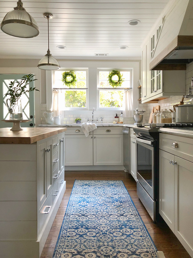 White And Walnut Kitchen Cabinets