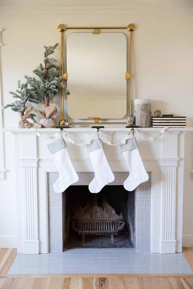 White Stockings Christmas mantel with brass mirror and White Stockings #WhiteStockings