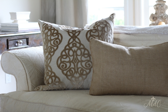 Pillows on sofa are Home Goods Beautiful Homes of Instagram @maisondecinq