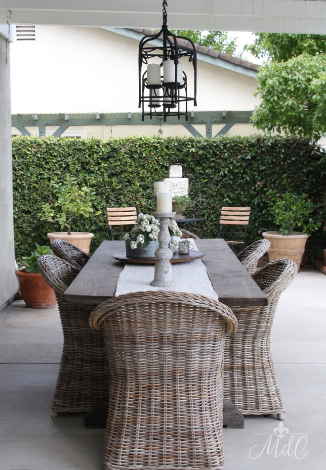 Patio Table: made by my husband. Patio dining chairs: World Market Outdoor chandeliers/lanterns: Pottery Barn Beautiful Homes of Instagram @maisondecinq