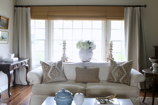 Window treatment are custom wood matchstick shades and linen drapes from Pottery Barn. Beautiful Homes of Instagram @maisondecinq