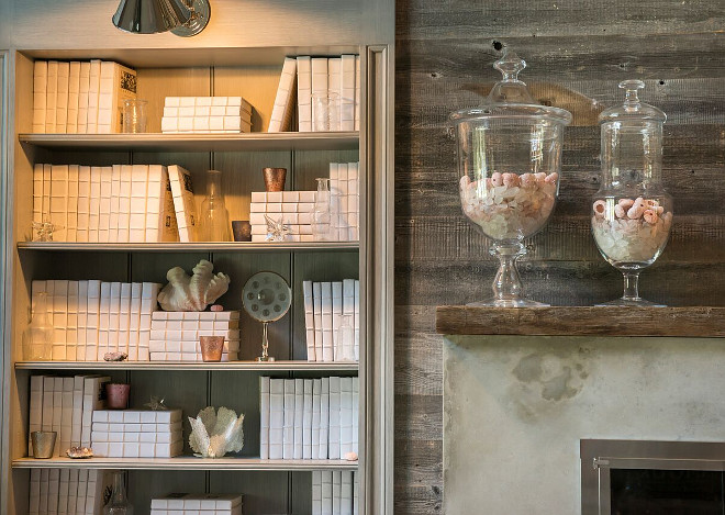 Bookcase and reclaimed wood shiplap walls, Living room features bookcase, reclaimed wood shiplap walls and concrete fireplace Bookcase and reclaimed wood shiplap walls The mantel features antique reclaimed wood #Bookcase #reclaimedwoodshiplap #concretefireplace