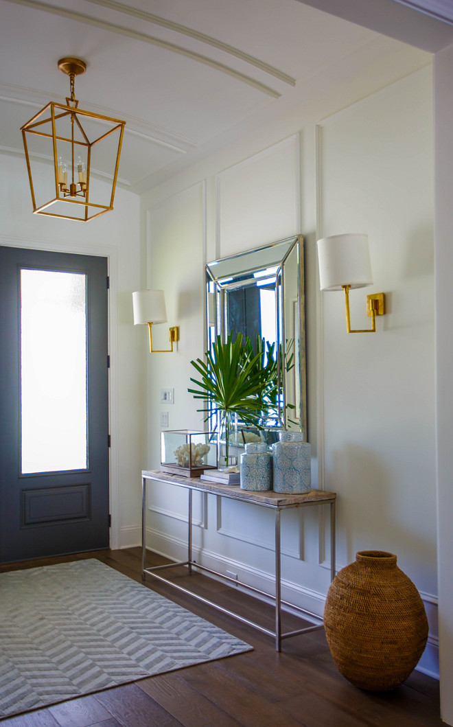 Arched Ceiling Paneling Foyer features wall paneling which continues to arched ceiling wall paneling