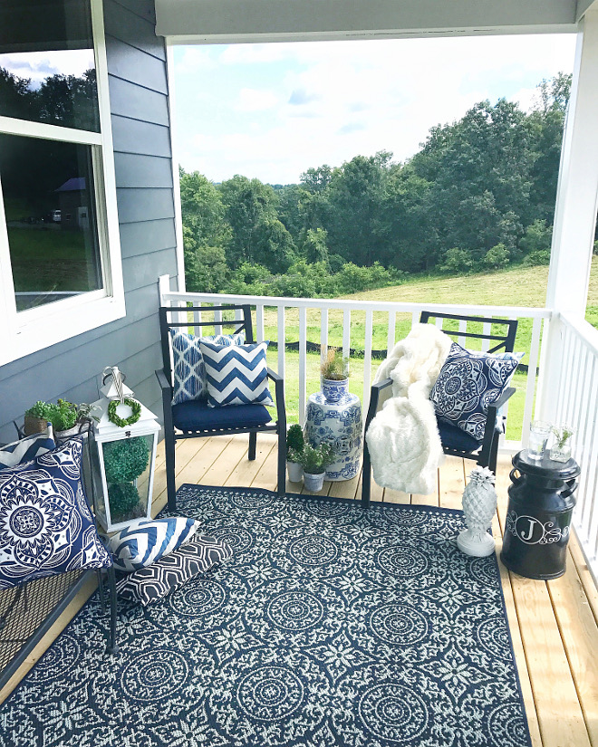 Blue and white Front Porch Summer porch decor ideas Blue and white porch decor #blueandwhiteporch #summerporchdecor #porch #porchdecor Home Bunch Beautiful Homes of Instagram