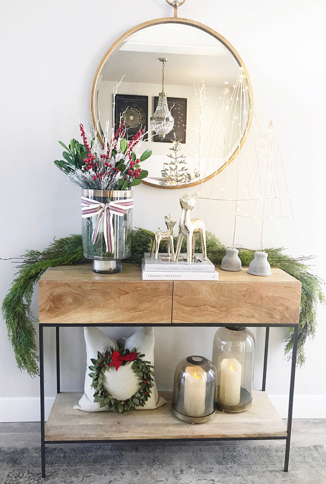 Christmas Foyer Vignette Natural Christmas Foyer Vignette Greenery Christmas Foyer Vignette Home Bunch Beautiful Homes of Instagram