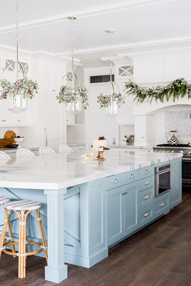 Coastal Kitchen Christmas Decor I love the Serena & Lily counterstools and the light blue island with marble countertop Coastal Kitchen Christmas Decor Ideas Coastal Kitchen Christmas Decor