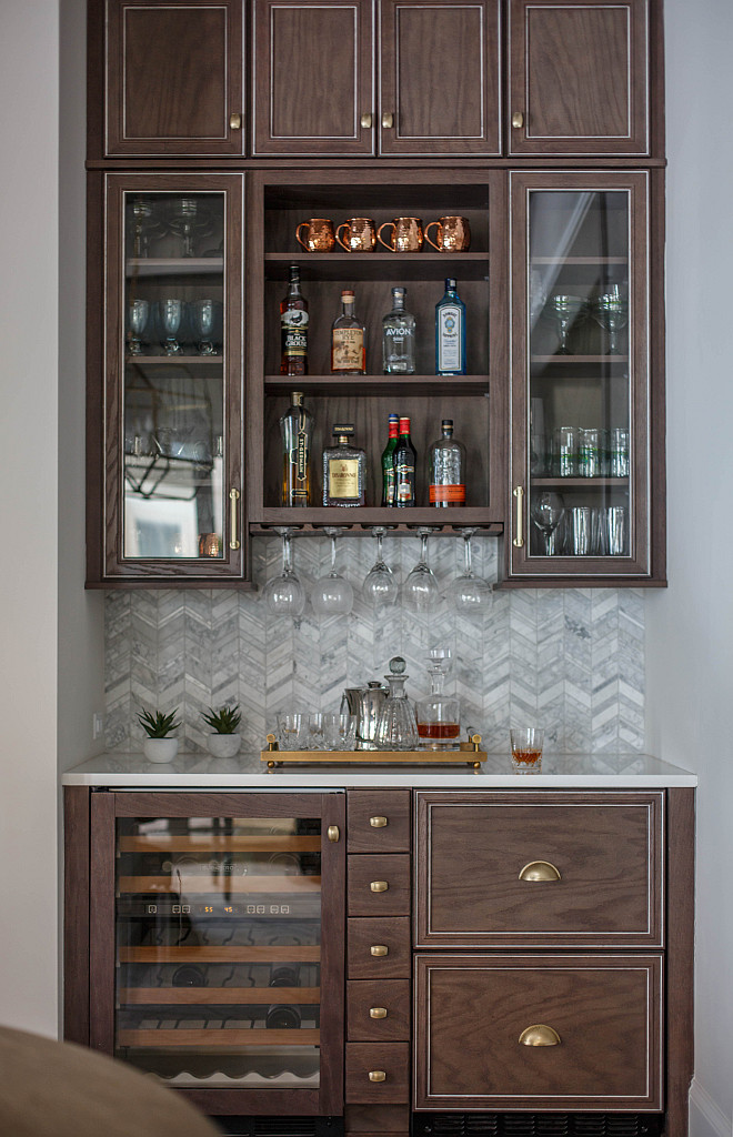 Dining Room Bar Cabinet Dining Room Bar Butlers Pantry with herringbone backsplash tile