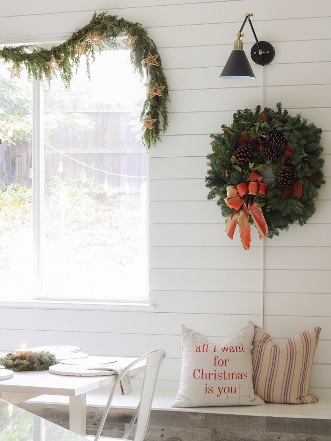 Dining room Christmas Decor Garland Wreath Pillows Dining room Christmas Decor Dining room Christmas Decor