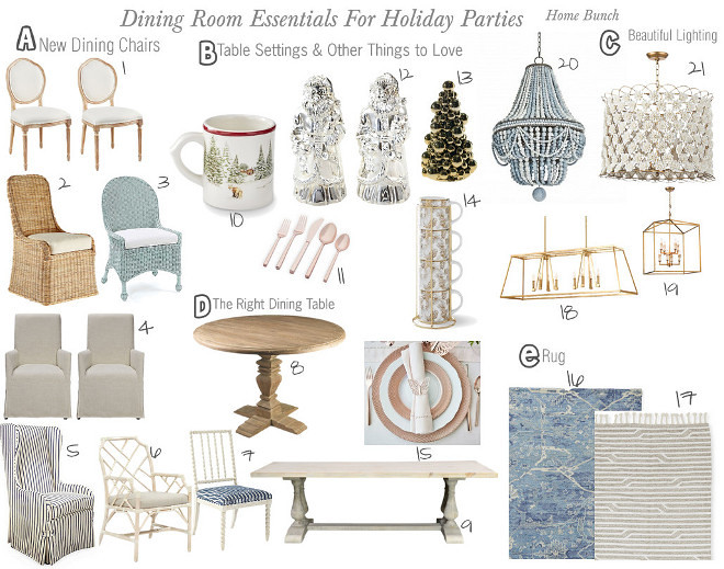 Dining room essentials for Holiday parties
