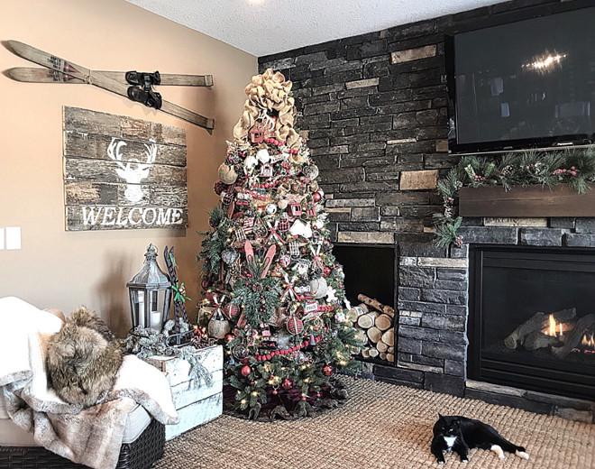 Family room wall of stone