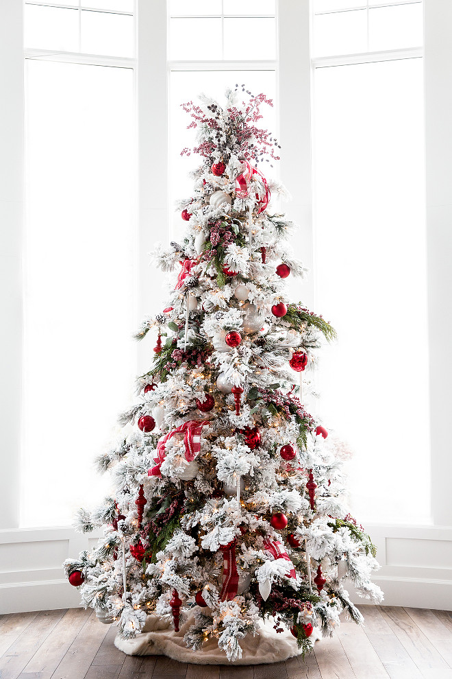 Flocked Tree with Red Christmas Decor Flocked Tree with Red Christmas Decoration Flocked Tree with Red Christmas Decor Via Pink Peonies