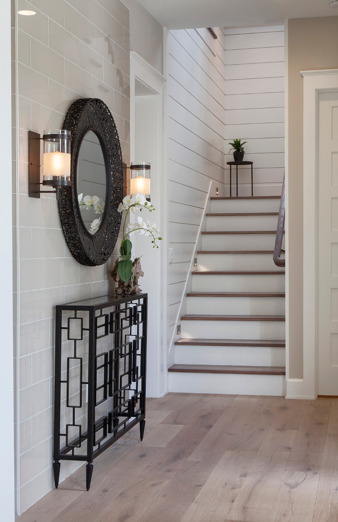 Foyer Ideas This foyer features a combination of shiplap accent tile wall and White Oak hardwood flooring #foyer #shiplap #walltile #tile #whiteoak #hardwoodflooring Home Bunch