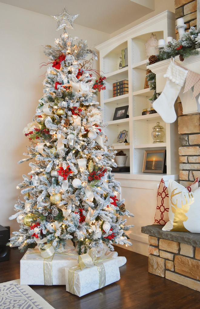 Flocked Christmas Tree Ideas - Home Bunch's Beautiful Homes of Instagram