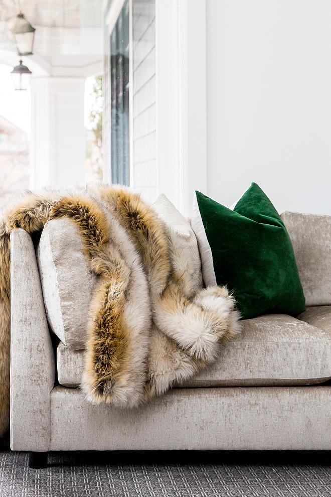 Green Velvet Pillow and faux fur pillow Living room Green Velvet Pillow and faux fur pillow Green Velvet Pillow and faux fur pillow